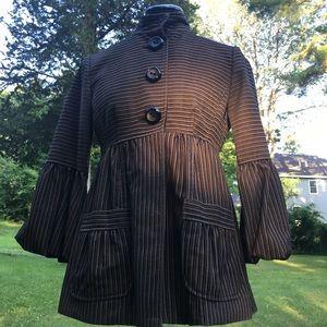 NANETTE LEPORE Bubble Sleeve Velvet Stripe Jacket